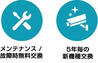 メンテナンス/故障時無料交換 5年毎の新機種交換