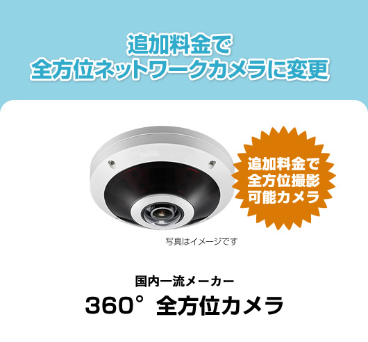 追加料金で全方位ネットワークカメラに変更  国内一流メーカー360°全方位カメラ